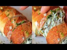 BuzzFeed Food - Spinach Artichoke Dip Stuffed Garlic Bread Recipe (adapted from Host The Toast) Mix cream cheese, mozzarella, spinach, artichoke hearts, and ...
