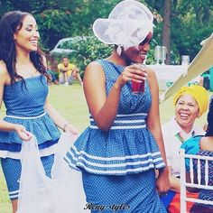Awesome African Shweshwe Dresses for Women 2017 - Reny styles Sepedi Traditional Dresses, African Traditional Wedding Dress, African Wedding Dress, African Print Dresses, African Print Fashion, African Dress, African Prints, Traditional Weddings, African Weddings