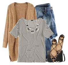"""""""Chunky cardigan, striped tee & spotted flats"""" by steffiestaffie ❤ liked on Polyvore featuring J.Crew, Violeta by Mango and Salvatore Ferragamo"""