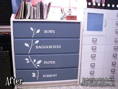 Recycle an old dresser to a gift wrap storage center.