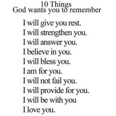10 Things GOD wants wants you to remember