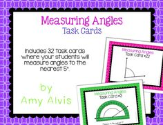 Measuring Angles Task Cards Measure to the nearest 5 degrees Teaching Math, Maths, Math Task Cards, Math Activities, Teacher Pay Teachers, Angles, Classroom, Student, Education