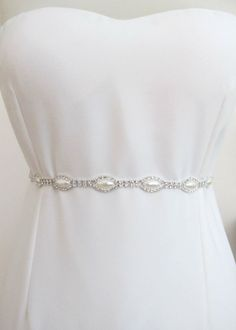 Bridal Crystal Pearl Beaded  Belts  Wedding Sash Belt Ready to Ship