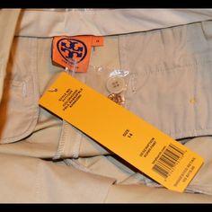 NWT $275 Tory Burch Kori pant golden Kahki Beautiful. Long long inseam. Can be hemmed. Super cute for work.  Item Location Bin D2 Tory Burch Pants Trousers