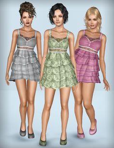 "Mod The Sims - ""Eternal love"" - Mini Dress With Ruffles (YA/A)"