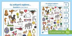 Cu ochișorii explorez sunetele N, I, E, R, O, C Free Teaching Resources, Curriculum, Initials, Resume Cv