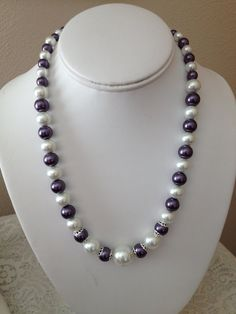 White and Purple Pearls Necklace with Silver Bead by karlajophoto, $25.00