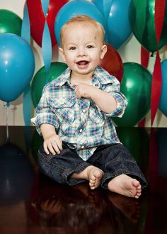 First Birthday- love the outfit and the balloon backdrop