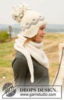 "Knitted DROPS hat with ear flaps and shawl in ""Eskimo"". ~ DROPS Design"