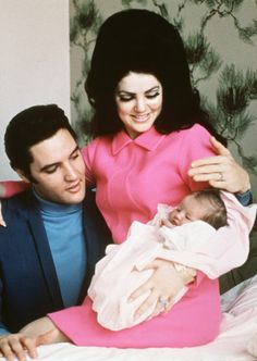 The Presley's I remember seeing this in the newspaper when I was a young girl, I clipped it out of the paper and saved it. Lisa Marie home from the hospital. Proud Parents.