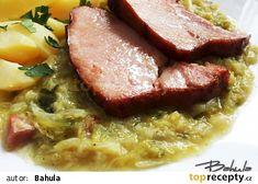 Dušená kapusta na slanině recept - TopRecepty.cz Slovak Recipes, Sauerkraut, Meatloaf, Steak, Food And Drink, Pork, Low Carb, Cooking Recipes, Beef