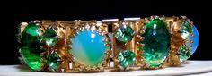 Vintage Peridot and Opalescent & Green Moonstones Rhinestone Book Chain Bracelet #UnsignedBeauty #ArtGlassMoonstoneRhinestoneBookChainBracelet
