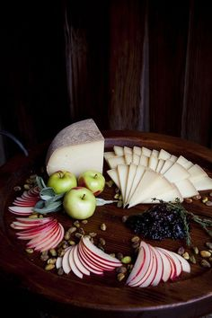 A pretty presentation for a cheese & fruit platter.