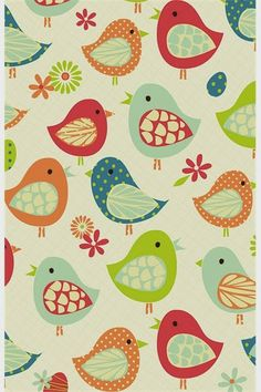 cute birdies - print & pattern - would be easy to cut body, wings freehand from diff solids/prints ...