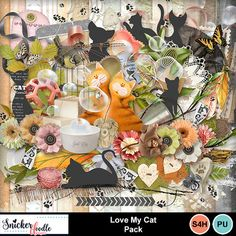 "Those furry little critters that love to snuggle, pounce and work their way into our laps at the most inconvenient times...Calico to Birman, Wildhair to Balinese, they steal our hearts with their antics and unique purr-sonalities. . Cat lovers, scrap your feline furbabies with Love My Cat by Snickerdoodle Designs. Dress up any digital scrapbook page with flowers, frames, foliage, and plenty of kitty elements to give you everything you need to make your project ""the cat's meow""."