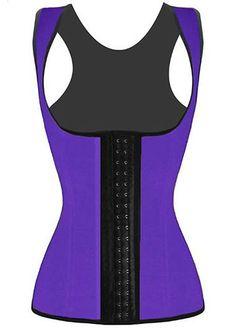 Latex Sport Vest Waist Trainer Steel Boned Purple