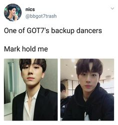 If you can't marry your bias marry a backup dancer 😂 Got7 Funny, Got7 Meme, Funny Kpop Memes, Yugyeom, Youngjae, K Pop, Big Bang Theory, Winchester, Fandom Kpop