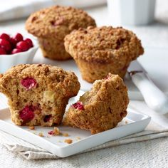 All-Bran™ Cranberry Apple Bran Muffins Recipe - A little tart. A little sweet. And totally bursting with flavour. These muffins are a great way to welcome fall. Apple Bran Muffin Recipe, Apple Muffins, Muffin Recipes, Baking Recipes, Yummy Recipes, Cranberry Muffins, All Bran Muffins, Fondant, Breakfast Bowls