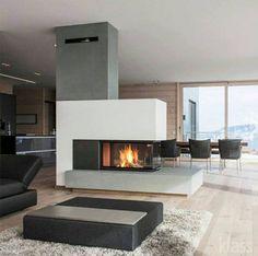 Výsledek obrázku pro 3 sided fireplace with reading bench - Fireplace Modern 3 Sided Fireplace, Home Fireplace, Modern Fireplace, Fireplace Design, Fireplaces, Fireplace Ideas, Fireplace Console, Concrete Fireplace, Fireplace Mantels
