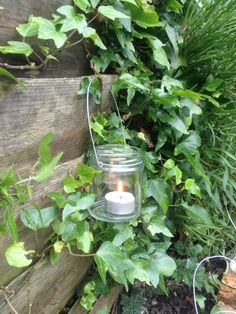 Shabby chic glass mason jar hanging tea light by Wedding Chapel Decorations, Wedding Lanterns, Jar Lanterns, Lantern Candle Holders, Porches, Hanging Tea Lights, Pots, Moss Garden, Cottage In The Woods