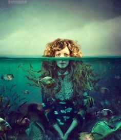 Thalassa - Greek Goddess of the Sea, the primordial essence of the ocean; Her name means 'sea'. She is the mother of all fish and sea mammals, and Her body and Her womb are the vast sea itself.   by Elena Vizerskaya