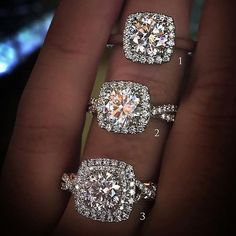 Cushion Halo Diamond Engagement Rings