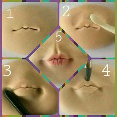 How to do a Fondant or Gum Paste Mouth (pic only) Sculpting a mouth in clay using simple tools Lips on fondant Arts And Crafts Furniture Tamarah L Cargile's media analytics. Polymer Clay Figures, Polymer Clay Dolls, Polymer Clay Projects, Polymer Clay Creations, Polymer Clay People, Sculpting Tutorials, Clay Tutorials, Clay Faces, Clay Baby
