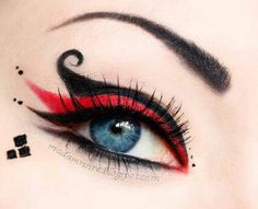 Harley Quinn eye makeup. I want to try