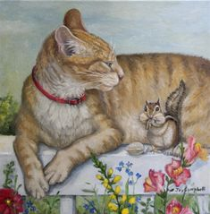 """Sharing the Ledge"" original fine art by Joy Campbell   Oil"