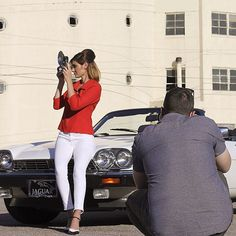What's a photoshoot without fun props? We braved the heat and wind to get the perfect shots. #BTS #photoshoot #onset #jaguar #retro #argus