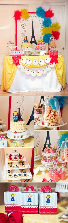 An incredible Madeline themed birthday party: The Cake Table