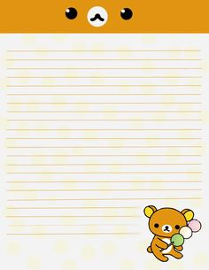 A rilakkuma paper for writing to a pen pall or just to have some cute paper on hand! Printable Lined Paper, Free Printable Stationery, Printable Scrapbook Paper, Cute Stationery, Notebook Drawing, Cute Animal Drawings Kawaii, Bullet Journal Ideas Pages, Rilakkuma, Note Paper