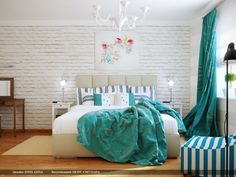 Common Popular Bedroom Accessories: Wonderfull Bedroom Style With Brick Wall Also Canvas Painting Ideas As Bedroom Accessories Also Big Bed With Modern Bedside Table With Contemporary Floor Lamps Next To The Bedroom Chairs And Green Window Curtains ~ surrealcoding.com bedroom Inspiration