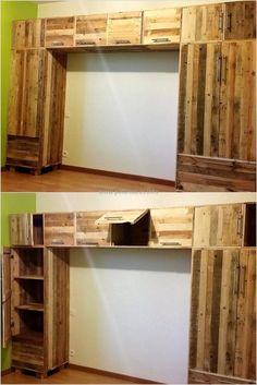 If you want to create a closet with the reclaimed wooden pallets, the plan is needed because for the creation of a big closet shown here; measurement should be accurate. The closet is made without painting the pallets and it is looking nice.