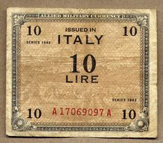 1943 ALLIED MILITARY CURRENCY WWII SPECIAL BANKNOTE FOR ITALY 10 LIRE