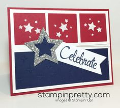 Happy 4th of July! A rug inspired today's patriotic card idea. Over 1000+ card ideas & daily paper crafting tips on my Stampin' Pretty blog!
