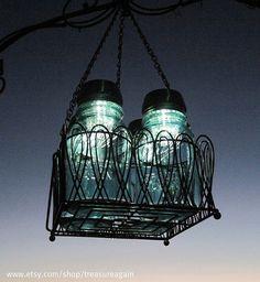 Jar Mason Jar Solar LIght Chandelier