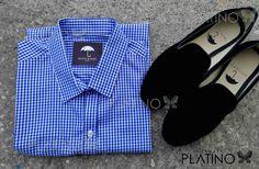 """Conjunto perfecto para una ocasión casual, compuesto por una camisa a cuadros azul cielo y loafer en terciopelo negro liso. Artículos hechos en México por la marca """"Moon & Rain"""" y de venta exclusiva en """"Tiendas Platino"""" #TiendasPlatino #Moda #Hombre #Camisa #Pantalón #Calzado #Mocasín #Outfit #Mens #Fashion #Dapper #Macrame #Ropa #México #Looks #Style #loafer #moonandrain"""