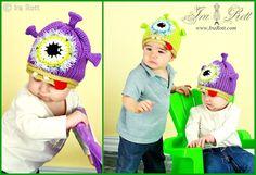 Handmade knit & crochet one eye alien monster hat for newborn to kid sizes.    The perfect hat for your little monster, alien, or beastie.