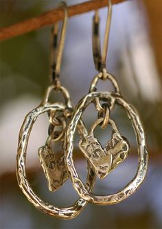 Oval Hoops with Heart Dangles in Sterling Silver by CathyDailey