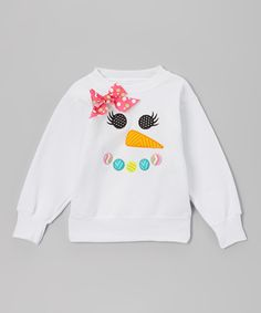 White Snowgirl Fleece Sweatshirt - Toddler & Girls | Daily deals for moms, babies and kids