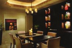 Seductive dining room in Florida high rise developer's model home.