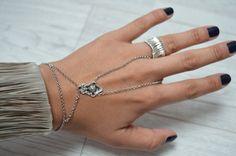 Silver Bracelet Ring Boho Slave Bracelet Ring Ring Bracelet