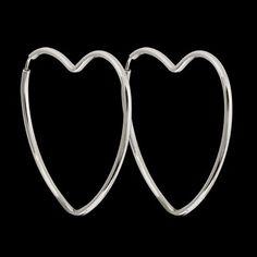 Argola de prata coração médio