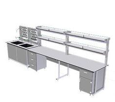 Một bàn chính. KT: W1200*D750*H830mm     Một hộc tủ 1 ngăn kéo 1 cánh mở bằng gỗ MFC chịu ẩm. KT: W450*D500*H700mm     Một giá để dụng cụ thí nghiệm 2 tầng. KT: W1200*D250*H800mm