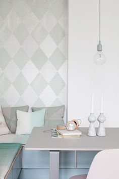 my scandinavian home: A Danish kitchen in pretty pastels Dining Room Inspiration, Interior Inspiration, Danish Kitchen, Deco Pastel, Bleu Pastel, Scandi Living, Pastel Kitchen, Cute Kitchen, Kitchen Nook