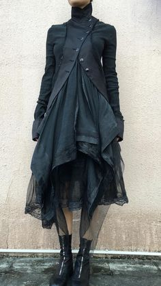 Marc Le Bihan Double Layers Jacket And Skirt Guidi Front Zip Horse Leather Boots Long Sleeve Cotton Dress, Cotton Dresses, Dark Fashion, Gothic Fashion, High Fashion, Mode Mori, Estilo Dark, Design Textile, Look Boho