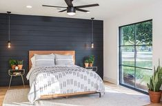 In one of their biggest stylistic challenges yet, our fearless Fixer Upper duo has a tall order to fill when a couple moving from Denver wants a country retreat — but a house with thoroughly modern vi Dark Accent Walls, Accent Wall Bedroom, Bedroom Ceiling, Bedroom Lighting, Ship Lap Accent Wall, Plank Wall Bedroom, Feature Wall Bedroom, Bedside Lighting, Feature Walls