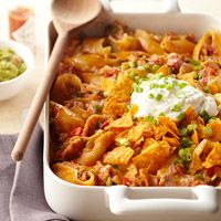 Chicken Enchilada Pasta - I bet Baked Doritos and reduced fat cheese would make this a tad healthier...