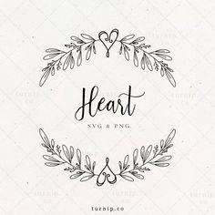 Heart Wreath SVG Floral Heart Wreath Clipart Leaf Border   Etsy Heart Hands Drawing, Wreath Drawing, Leaf Border, Clipart Black And White, Wedding Logos, Heart Wreath, Stationery Design, Digital Stamps, Mug Designs